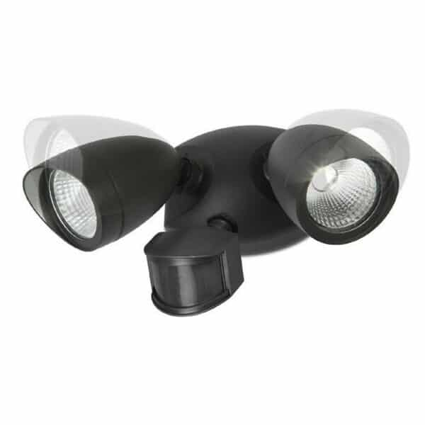 Lutec Shrimp 22W Twin LED PIR Wall Light - Black