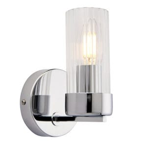 Nicholas Brushed Chrome effect Wired Wall light