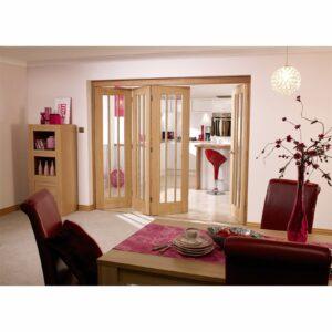NuVu Roomfold Internal Unfinished 3 + 0 Oak Folding Sliding Door Kit - 2130 x 2078mm