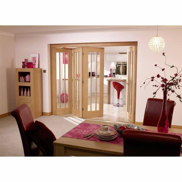 NuVu Roomfold Internal Unfinished 5 + 0 Oak Folding Sliding Door Kit - 4188 x 2078mm