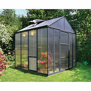 Palram 8 x 8ft Glory Aluminium Apex Greenhouse with Polycarbonate Panels