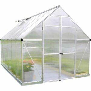 Palram Essence Silver 8 x 12ft Greenhouse Polycarbonate, Aluminium, Steel