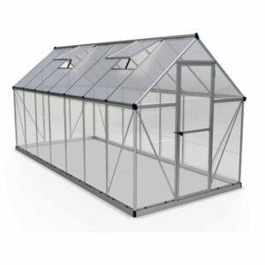 Palram Hybrid Silver 6 x 14ft Greenhouse Polycarbonate, Aluminium, Steel