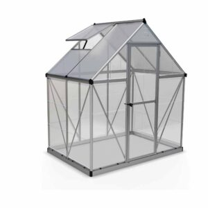 Palram Hybrid Silver 6 x 4ft Greenhouse Polycarbonate, Aluminium, Steel
