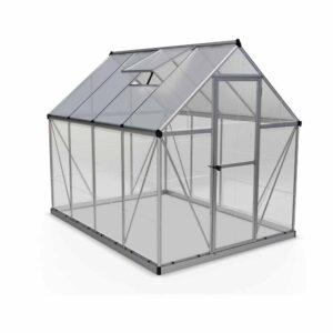 Palram Hybrid Silver 6 x 8ft Greenhouse Polycarbonate, Aluminium, Steel