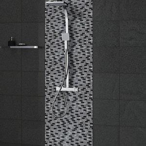 Paris Black & white Brick Glass Mosaic tile (L)304mm (W)300mm