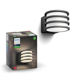 Philips Hue Non-adjustable Black & white Mains-powered LED Outdoor Wall light 806lm (Dia)21.5cm