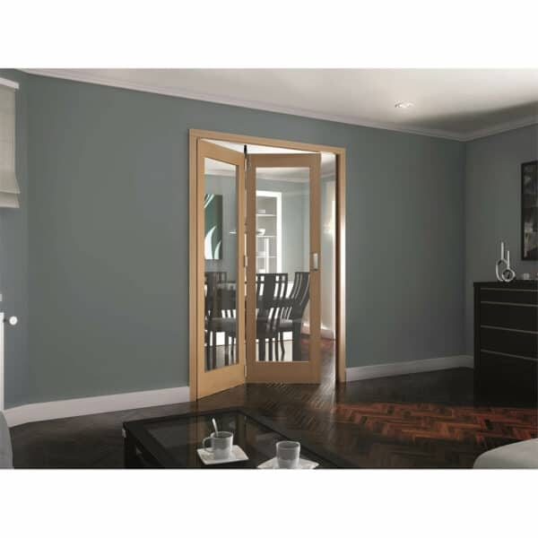 Shaker Oak 1 Light Clear Glazed Interior Folding Doors 2 x 0 2047 x 1471mm