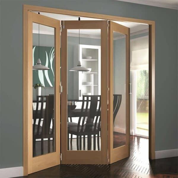 Shaker Oak 1 Light Clear Glazed Interior Folding Doors 3 x 0 2047 x 1929mm