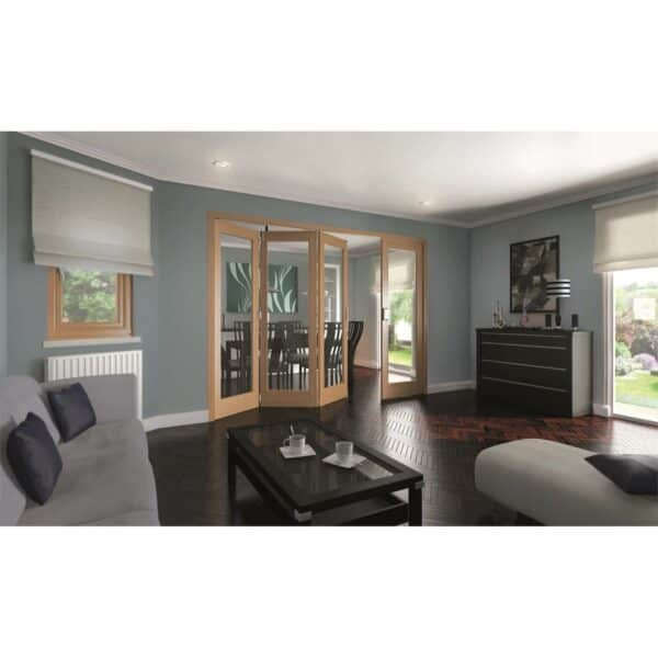 Shaker Oak 1 Light Clear Glazed Interior Folding Doors 3 x 1 2047 x 2545mm