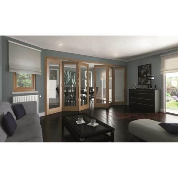 Shaker Oak 1 Light Clear Glazed Interior Folding Doors 3 x 3 2047 x 3771mm