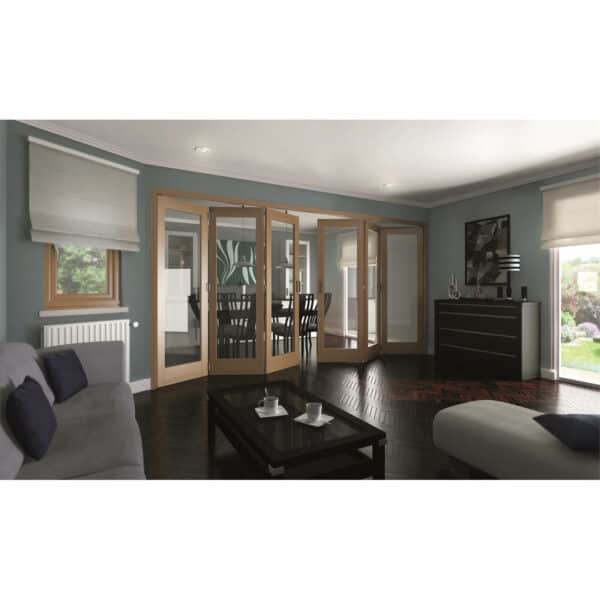 Shaker Oak 1 Light Clear Glazed Interior Folding Doors 3 x 3 2047 x 4227mm