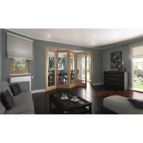 Shaker Oak 1 Light Clear Glazed Interior Folding Doors 4 x 0 2047 x 2545mm