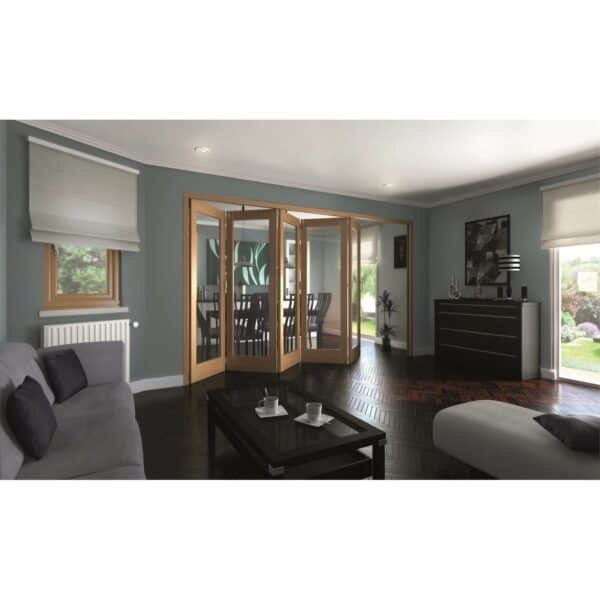 Shaker Oak 1 Light Clear Glazed Interior Folding Doors 5 x 0 2047 x 3158mm