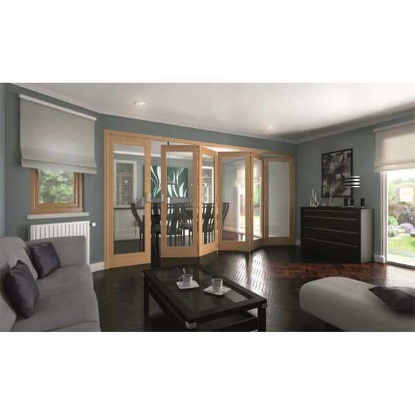 Shaker Oak 1 Light Clear Glazed Interior Folding Doors 5 x 1 2047 x 4227mm