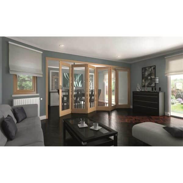 Shaker Oak 1 Light Clear Glazed Interior Folding Doors 6 x 0 2047 x 4227mm