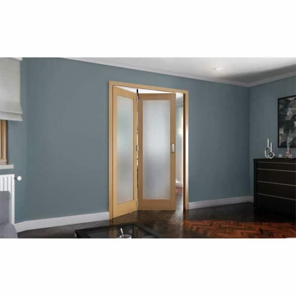 Shaker Oak 1 Light Obscure Glazed Interior Folding Doors 2 x 0 2047 x 1471mm