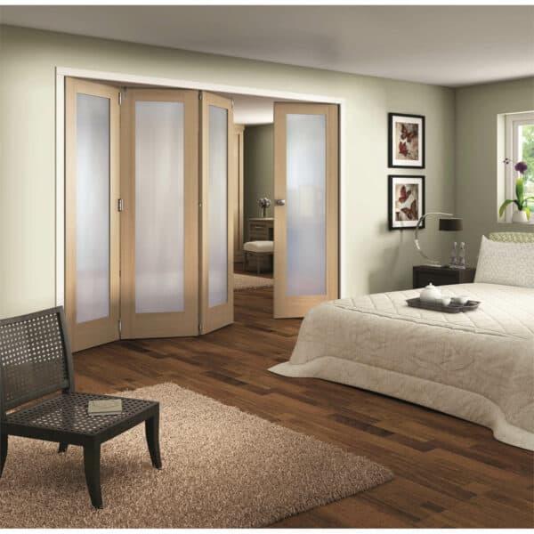 Shaker Oak 1 Light Obscure Glazed Interior Folding Doors 3 x 1 2047 x 2849mm