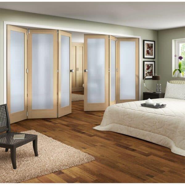 Shaker Oak 1 Light Obscure Glazed Interior Folding Doors 3 x 3 2047 x 3771mm