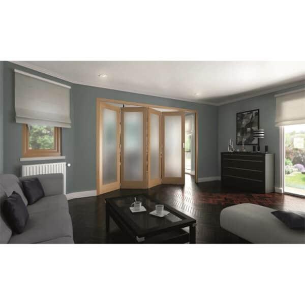 Shaker Oak 1 Light Obscure Glazed Interior Folding Doors 4 x 0 2047 x 2545mm