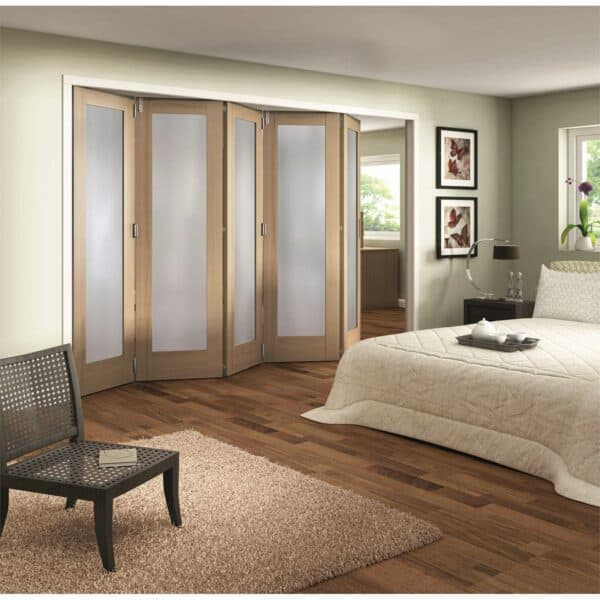 Shaker Oak 1 Light Obscure Glazed Interior Folding Doors 5 x 0 2047 x 3538mm