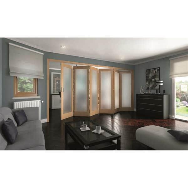 Shaker Oak 1 Light Obscure Glazed Interior Folding Doors 6 x 0 2047 x 4227mm