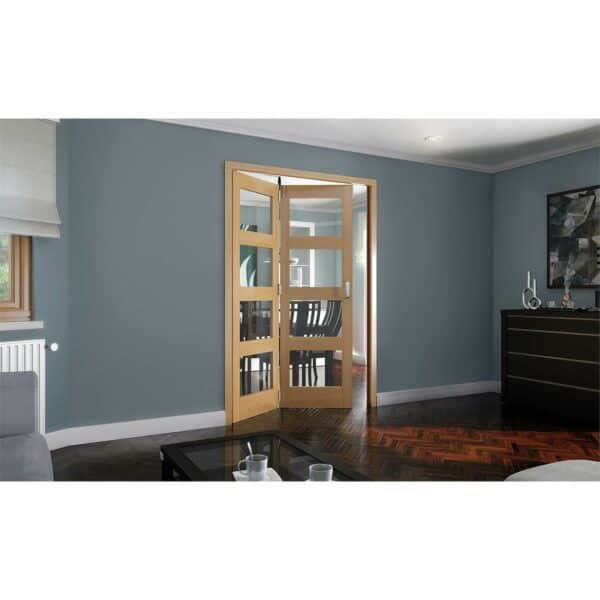 Shaker Oak 4 Light Clear Glazed Interior Folding Doors 2 x 0 2047 x 1471mm