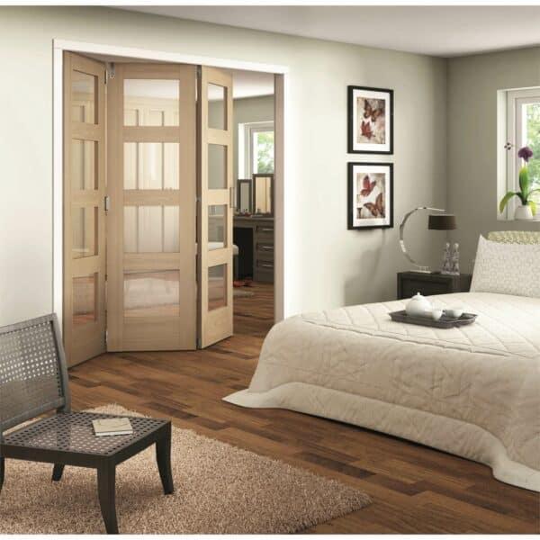 Shaker Oak 4 Light Clear Glazed Interior Folding Doors 3 x 0 2047 x 2157mm