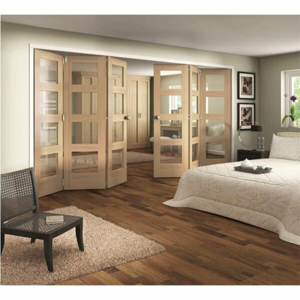 Shaker Oak 4 Light Clear Glazed Interior Folding Doors 3 x 3 2047 x 4227mm