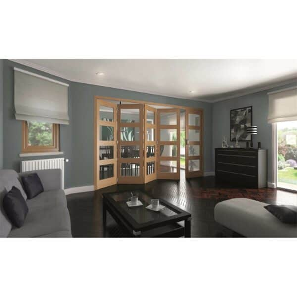 Shaker Oak 4 Light Clear Glazed Interior Folding Doors 4 x 1 2047 x 3538mm
