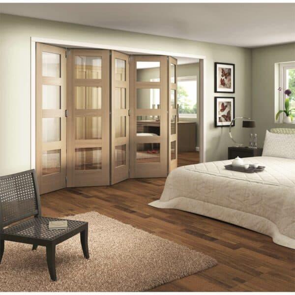 Shaker Oak 4 Light Clear Glazed Interior Folding Doors 5 x 0 2047 x 3538mm