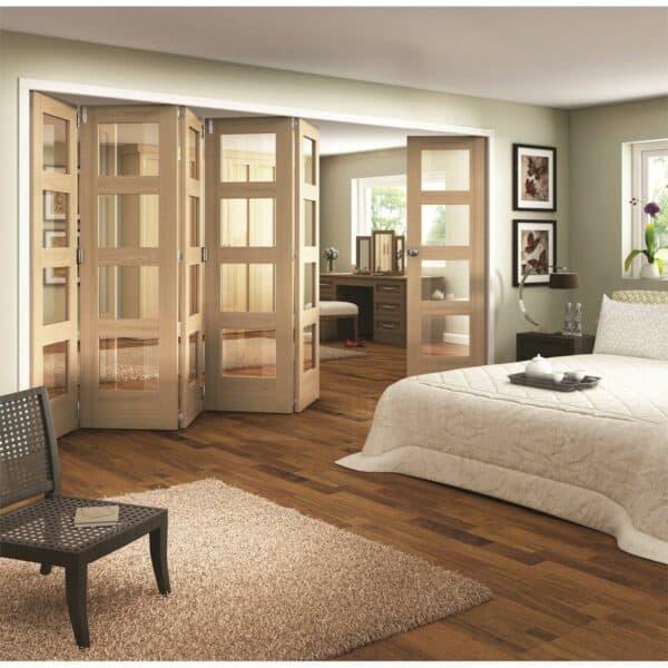 Shaker Oak 4 Light Clear Glazed Interior Folding Doors 5 x 1 2047 x 4227mm