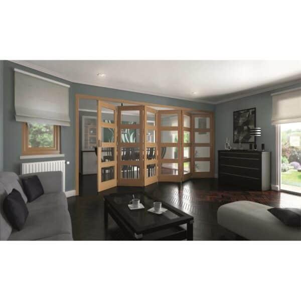 Shaker Oak 4 Light Clear Glazed Interior Folding Doors 6 x 0 2047 x 3771mm