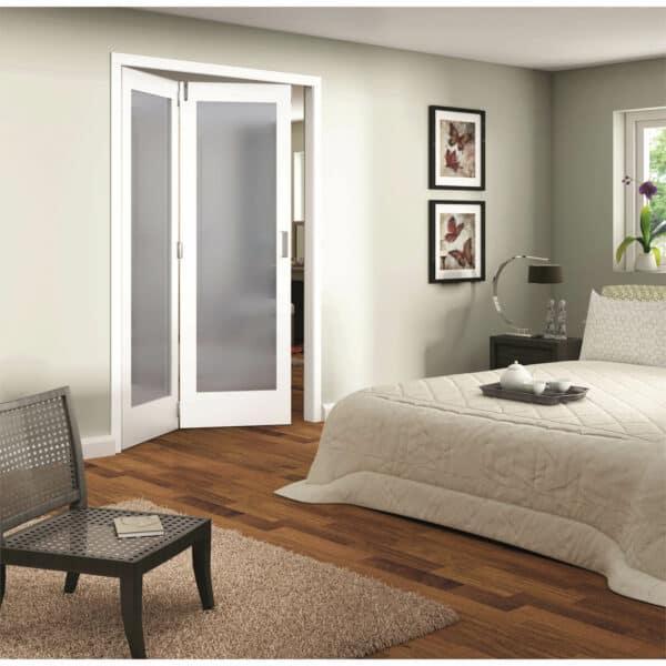 Shaker White Primed 1 Light Obscure Glazed Interior Folding Doors 2 x 0 2047 x 1471mm
