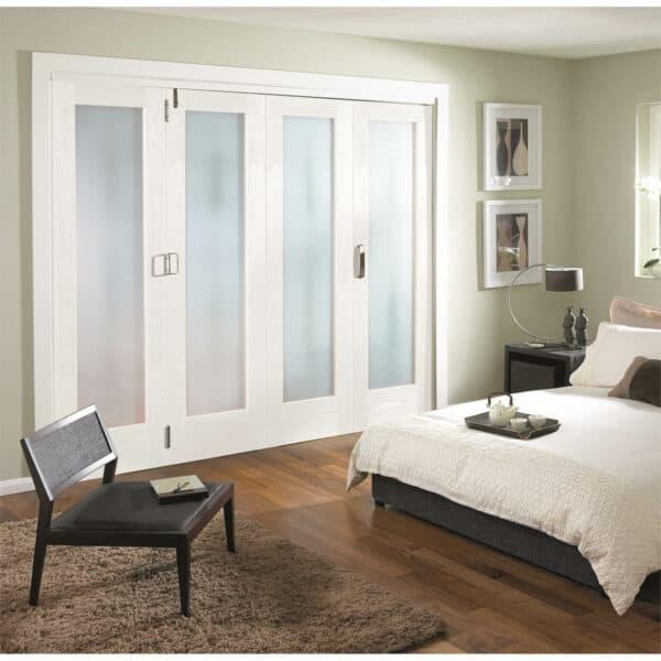 Shaker White Primed 1 Light Obscure Glazed Interior Folding Doors 3 x 1 2047 x 2849mm