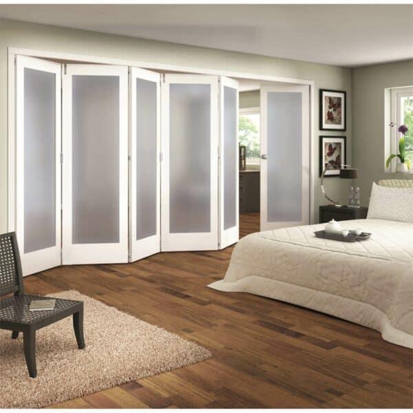 Shaker White Primed 1 Light Obscure Glazed Interior Folding Doors 5 x 1 2047 x 4227mm