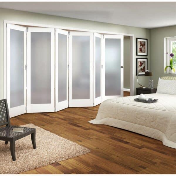Shaker White Primed 1 Light Obscure Glazed Interior Folding Doors 6 x 0 2047 x 3771mm