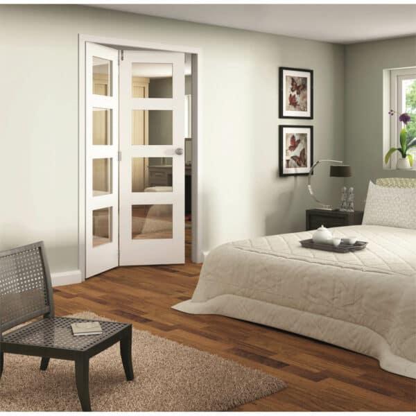 Shaker White Primed 4 Light Clear Glazed Interior Folding Doors 2 x 0 2047 x 1319mm