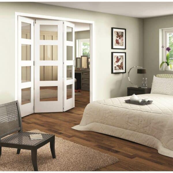 Shaker White Primed 4 Light Clear Glazed Interior Folding Doors 3 x 0 2047 x 2157mm