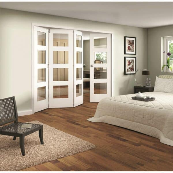 Shaker White Primed 4 Light Clear Glazed Interior Folding Doors 3 x 1 2047 x 2849mm