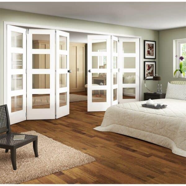 Shaker White Primed 4 Light Clear Glazed Interior Folding Doors 3 x 3 2047 x 4227mm