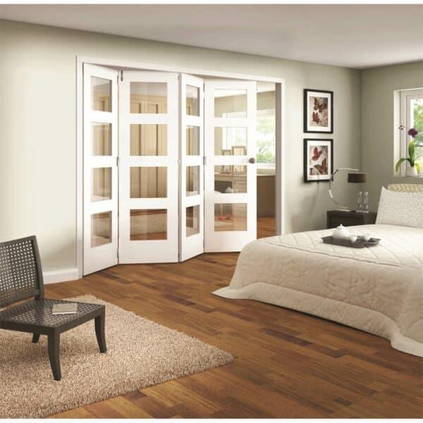 Shaker White Primed 4 Light Clear Glazed Interior Folding Doors 4 x 0 2047 x 2849mm