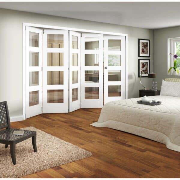 Shaker White Primed 4 Light Clear Glazed Interior Folding Doors 4 x 1 2047 x 3158mm