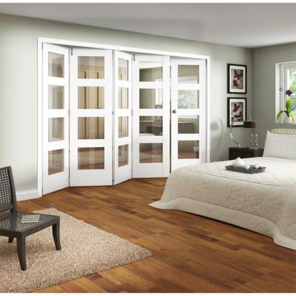 Shaker White Primed 4 Light Clear Glazed Interior Folding Doors 4 x 1 2047 x 3538mm