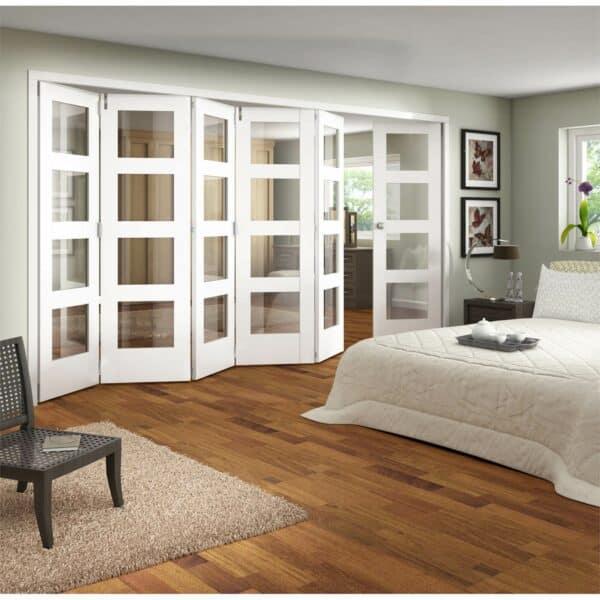 Shaker White Primed 4 Light Clear Glazed Interior Folding Doors 5 x 1 2047 x 4227mm