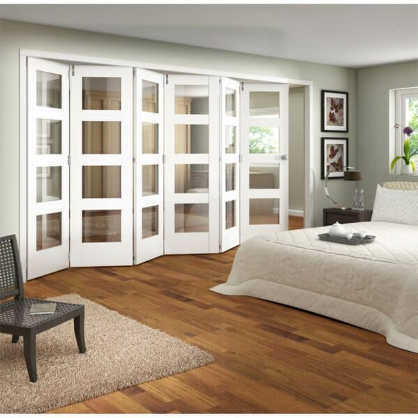 Shaker White Primed 4 Light Clear Glazed Interior Folding Doors 6 x 0 2047 x 4227mm