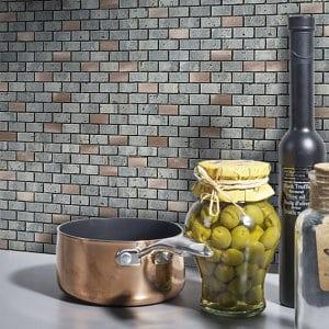 Shoreditch Copper effect Natural stone Mosaic tile sheets (L)298mm (W)304mm