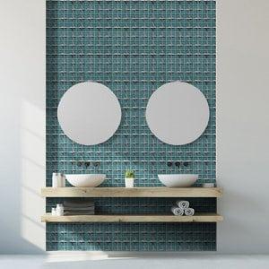 Stargazer Teal Star Glass 2x2 Mosaic tile (L)300mm (W)300mm