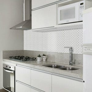 White Mini bevel brick Porcelain Mosaic tile (L)320mm (W)298mm