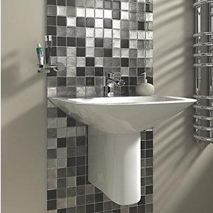 Wickes Black & Silver Leaf Glass Mosaic Tile - 300 x 300mm